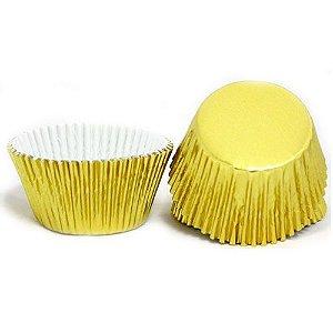 Forminha CupCake Metalizada Ouro com 50 un. Cod. 6457 Mago Rizzo Confeitaria
