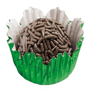 Forminha de Papel N° 3 Recortada Verde Metalizada com 50 un. Cod. 3093 Mago Rizzo Confeitaria