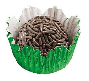 Forminha de Papel N° 5 Recortada Verde Metalizada com 50 un. Cod. 3256 Mago Rizzo Confeitaria