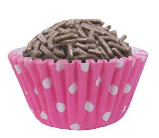 Forminha de Papel N° 5 Bolinha Negativa Pink com 100 un. Cod. 6321 Mago Rizzo Confeitaria