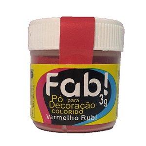 Pó para decoração vermelho rubi 3g Fab Rizzo Confeitaria