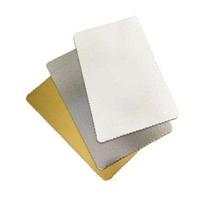 Base para Bolo Cake Board Retangular Prata 35 X 20 cm Ultrafest Rizzo Confeitaria