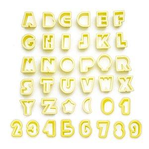Kit Cortador Letras e Números 2cm com 38 peças Blue Star Rizzo Confeitaria