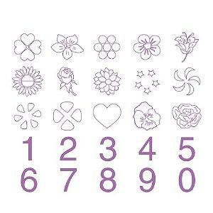 Jogo de Carimbos de Flores e Números com 25 un. Cod. 5456 Mago Rizzo Confeitaria