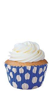 Forminha CupCake Azul com Bolinha Branca com 45 un. Cod. 6734 Mago Rizzo Confeitaria