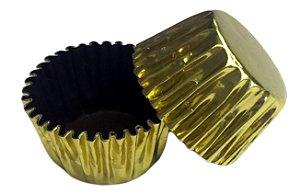 Forminha de Papel N° 5 Ouro por Fora e Marrom por Dentro com 50 un. Cod. 7048 Mago Rizzo Confeitaria