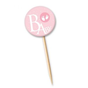 Tag Baby Rosa com 12 un. Cód. 4144 Miss Embalagens Rizzo Confeitaria