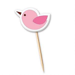 Tag Pássaro Rosa com 12 un. Cód. 0085 Miss Embalagens Rizzo Confeitaria