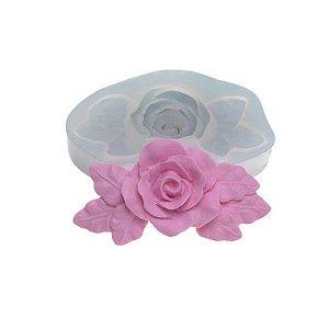 Molde de silicone Rosa Grande com Folhas Ref. 390 Flexarte Rizzo Confeitaria