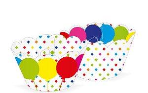 Wrapper para CupCake Tradicional Balão Colorido Cod. 28.3 com 12 un. Nc Toys Rizzo Confeitaria