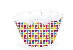 Wrapper para CupCake Tradicional Bolinhas Coloridas Cod. 12.32 com 12 un. Nc Toys Rizzo Confeitaria