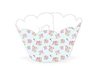Wrapper para CupCake Tradicional Floral Azul Cod. 48.6 com 12 un. Nc Toys Rizzo Confeitaria