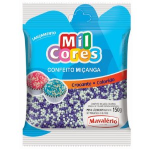 Confeito Miçanga Branca e Lilás Nº 0 150 g Mil Cores Mavalério Rizzo Confeitaria