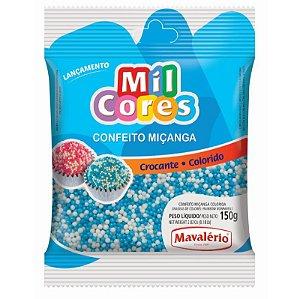 Confeito Miçanga Branca e Azul Nº 0 150 g Mil Cores Mavalério Rizzo Confeitaria