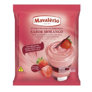 Pó para Preparo de Sobremesas Sabor Morango 100 g Mavalério Rizzo Confeitaria