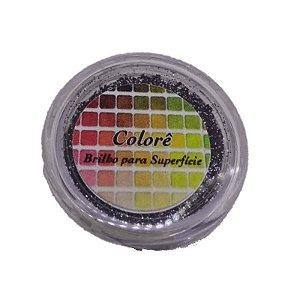 Brilho para superficie, Gliter Preto com Prata 16PP 1,5g LullyCandy Rizzo Confeitaria