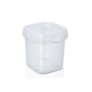 Pote Quadrado Plástico com Lacre 220ml com 20 un. WS Plásticos Rizzo Confeitaria
