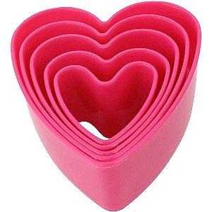 Kit Forminhas Plástica Coração 5 pç Clink Rizzo Confeitaria