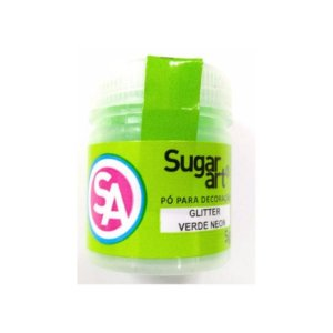 Pó para Decoração, Gliter Verde Neon 5g Sugar Art Rizzo Confeitaria