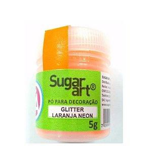 Pó para Decoração, Gliter Laranja Neon 5g Sugar Art Rizzo Confeitaria