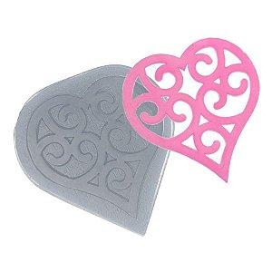 Molde de Silicone Renda Coração Largo Ref. 118 Flexarte Rizzo Confeitaria