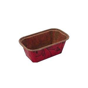 Forma Forneável p Mini Bolo Inglês Sem Tampa 10 unidades P Vermelho Plumpy Ecopack Rizzo Confeitaria