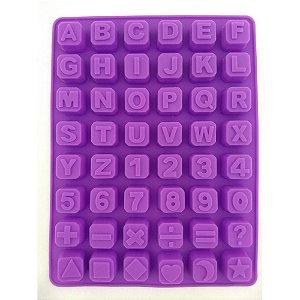 Forma de Silicone Alfabeto, Números e Símbolos 48 cavidades Le Chef Rizzo Confeitaria