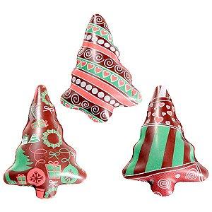 Blister Decorado com Transfer para Chocolate Arvore de Natal 3,5cm x 5,5cm BLN0050 Stalden Rizzo Confeitaria