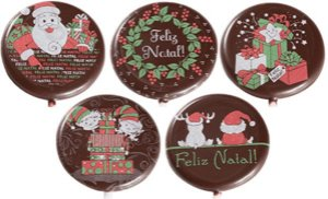 Blister Decorado com Transfer para Chocolate Pirulito de Natal 5cm BLN0034 Stalden Rizzo Confeitaria