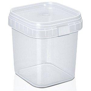 Pote Quadrado Plástico com Lacre 500ml com 10 un. WS Plásticos Rizzo Confeitaria