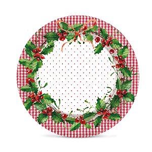 Bandeja Redonda Laminada Natal Tradição D31,5cm Cromus Rizzo Confeitaria