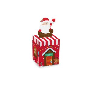 Mini Caixinha Chaminé Natal Papai Noel 7cm x 7cm 10 unidades Cromus Rizzo Confeitaria