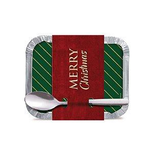 Marmitinha com Colher de Luxo Natal Sofisticado Cromus 12 unidades Rizzo Confeitaria