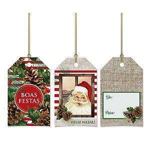 Tag Decorativa Natal Rústica 12 unidades Cromus Rizzo Confeitaria