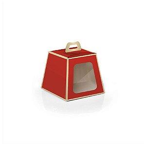 Caixa Mini Panetone 100g Natal Vermelho/Ouro10 unidades Cromus Rizzo Confeitaria