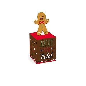 Mini Caixinha Chaminé Natal Biscoito 7cm x 7cm 10 unidades Cromus Rizzo Confeitaria