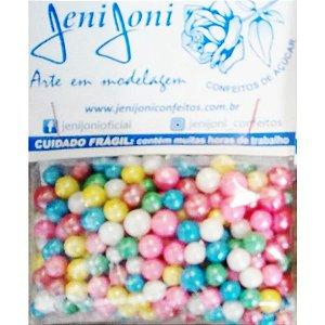 Confeitos comestíveis Pérola Grande Colorida Jeni Joni Rizzo Confeitaria