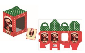 Caixa Mini Panetone Natal Menina com 3 un. Erika Melkot Rizzo Confeitaria