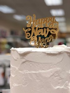Topo de Bolo Happy New Year Vivarte Rizzo Confeitaria