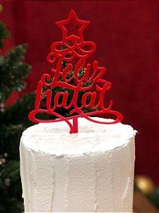 Topo de Bolo Feliz Natal Vermelho Vivarte Rizzo Confeitaria
