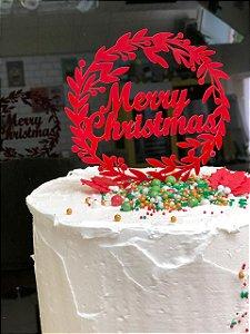Topo de Bolo Merry Christmas Vivarte Rizzo Confeitaria