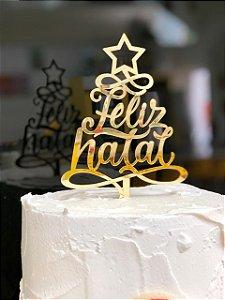 Topo de Bolo Feliz Natal Dourado Vivarte Rizzo Confeitaria