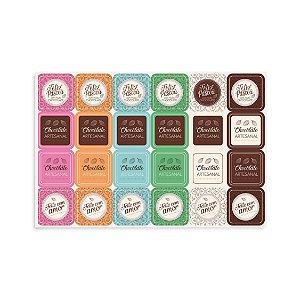 Cartela Adesiva Chocolatier com 48 etiquetas Cromus Rizzo Confeitaria