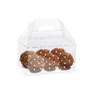 Caixa Clean Acetato Maleta Kids Poa Branco Cromus Rizzo Confeitaria