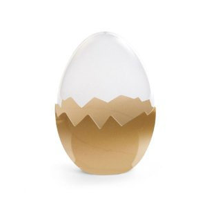 Ovo Acrílico Transparente com Base Dourada P Cromus Rizzo Confeitaria