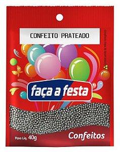 Confeito Prateado 40g Faça a Festa Rizzo Confeitaria