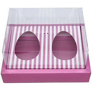 Caixa Ovo de Colher Duplo com Moldura - Meio Ovo de 100g a 150g - Rosa com Listras - 23 x 19 x 10 cm - 5 un - Assk Rizzo Confeitaria