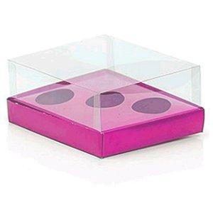 Caixa Ovo de Colher Triplo - Meio Ovo de 50g a 80g - Rosa - 20,5 x 17 x 6,5 cm - 5 un - Assk Rizzo Confeitaria