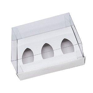Caixa Barca de Chocolate 3 Cavidades P - Branca - 20,5 x 17 x 6,5 cm - 5 un - Assk Rizzo Confeitaria