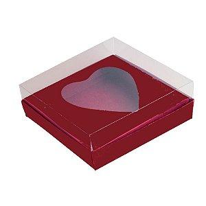 Caixa Coração de Colher - Meio Coração de 250g - Vinho - 15 x 13 x 6,5 cm - 5 un - Assk Rizzo Confeitaria